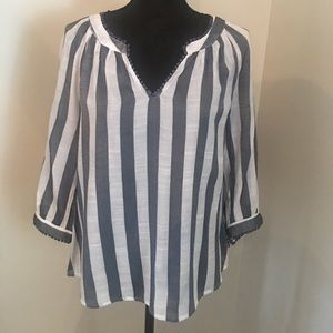 Zach & Rachel Gray White Striped Peasant Blouse